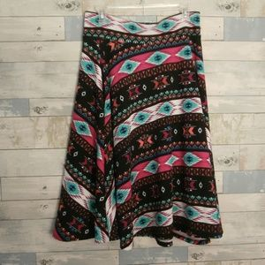 Agnes & Dora Bright Tribal Print Skirt - F1